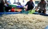 Pedagang melayani konsumen pembeli buah kolang kaling di Pasar Baru, Bekasi, Jawa Barat, Senin (6/5/2019).