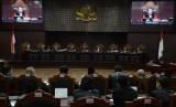 [Ilustrasi] Suasana sidang sengketa Pemilhan Presiden (Pilpres) 2019 beragendakan mendengarkan keterangan saksi di Mahkamah Konstitusi, Jakarta, Rabu(19/6).