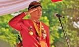 Gubernur Jawa Tengah, Ganjar Pranowo saat memimpin Upacara HUt Provinsi  Jawa Tengah ke-69, di Lapangan Pancasila, Simpanglima, Semarang, Kamis  (15/8).