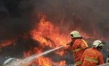 Petugas pemadam kebakaran mencoba memadamkan api