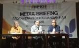 Nilai Manfaat Dana Kelolaan BPKH Naik 27,9 persen. Foto: Anggota badan pelaksana Badan Pengelola Keuangan Haji (BPKH) dalam paparan kinerja keuangan BPKH 2019 di Jakarta, Rabu (22/1).