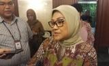 Menteri Ketenagakerjaan (Menaker) Ida Fauziyah di Kantor Kemenaker, Jalan Gatot Subroto, Jakarta Selatan, Selasa (4/2).
