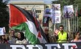 Aksi di des Nations di depan markas besar PBB di Eropa, di Jenewa, Swiss. Pemenuhan hak Palestina jadi solusi penyelesaian konflik. Ilustrasi.
