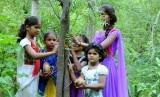 Anak-anak perempuan di Piplantri, India berkumpul di dekat pohon yang masih muda.
