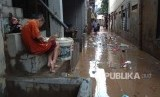 Banjir di Kelurahan Rawajati, Jakarta Selatan.