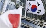Bendera Jepang dan Bendera Korsel.Ilustrasi.