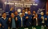 Calon Ketua Umum PAN Asman Abnur memberikan keterangan pers terkait kepastian dirinya maju dalam kontestasi pemilihan Caketum PAN 2020-2025 di Hotel Sahid, Jakarta, Jumat (17/1).