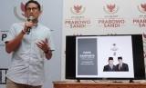 Calon Wakil Presiden RI nomor urut 02 Sandiaga Uno saat memaparkan dana kampanye yang diakukan di Media Center Prabowo-Sandi, Jakarta, Selasa (23/10/2018).