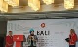 Deputi Bidang Pengembangan Pemasaran II Kementerian Pariwisata (Kemenpar) Nia Niscaya dalam konferensi pers penerbangan langsung Istanbul-Denpasar oleh Turkish Airlines di Nusa Dua, Bali, Kamis (18/7).