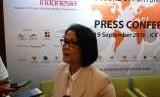 Direktur Jenderal Pengembangan Ekspor Nasional (PEN) Kementerian Perdagangan Arlinda dalam konferensi pers di ICE BSD, Tangerang, Rabu (19/9).