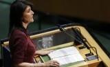 Duta Besar AS untuk PBB Nikki Haley berbicara di markas Majelis Umum PBB, Kamis (21/12).