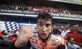 Ekspresi Marc Marquez seusai juara di GP Thailand, Ahad (7/10).