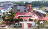 Foto aerial arena Panjat Tebing di kawasan Jakabaring Sport City (JSC) Palembang, Sumatra Selatan, Jumat (27/7).
