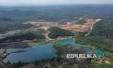 Foto aerial bekas tambang batu bara di kawasan ibu kota negara baru, Kecamatan Samboja, Kutai Kartanegara, Kalimantan Timur.