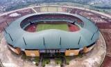 Foto aerial kompleks Stadion Pakansari, Cibinong, Kabupaten Bogor, Jabar, Rabu (31/8).