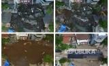 Foto kolase jalan ambles di Jalan Raya Gubeng, Surabaya, Jawa Timur, Rabu (19/12/2018) (kiri atas), proses pengurukan pada Kamis (20/12/2018) (kanan atas), jalan ambles tersambung kembali dengan urukan pasir tanah dan batu pada Minggu (23/12/2018) (kiri bawah) dan jalan ambles memasuki tahap pengaspalan Rabu (26/12/2018) (kanan bawah).