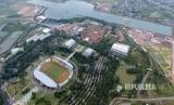 Foto udara kompleks Jakabaring Sport City (JSC), Palembang, Sumatra Selatan.