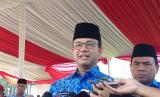 Gubernur DKI Jakarta Anies Rasyid Baswedan di Lapangan Silang Monas, Jakarta Pusat, Kamis (25/4) pagi.