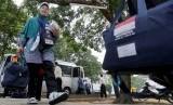 Jamaah haji asal Sumsel tiba di Asrama Haji Palembang, Sumatra Selatan.