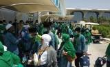 Jamaah haji dari Embarkasi Haji Palembang, Jakarta-Bekasi, Jakarta-Pondok Gede, tiba di Bandar Udara AMA, Rabu (18/7).
