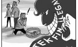 Karikatur Jeratan Fintech Ilegal