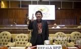 Kepala Badan Pembinaan Ideologi Pancasila (BPIP) Yudian Wahyudi bersiap mengikuti Rapat Dengar Pendapat (RDP) dengan Komisi II DPR di Kompleks Parlemen, Senayan, Jakarta, Selasa (18/2/2020).