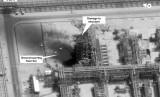 Kerusakan akibat serangan drone di fasilitas pengolahan minyak Aramco di kilang minyak Kuirais di Buqyaq, Arab Saudi, Ahad (15/9).