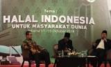Ketua Badan Penyelenggara Jaminan Produk Halal (BPJPH) Prof Ir Sukoso dan Anggota Komisi Fatwa Majelis Ulama Indonesia (MUI) Aminudin Yakub mengisi Rapat Koordinasi Nasional (Rakornas) BPJPH Kementrian Agama Republik Indonesia, Kamis (18/10) di Jakarta.