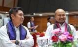 Ketua BPP HIPMI  Mardani H. Maming kiri dan Ketua Umum BPD HIPMI Jaya, Afifuddin Suhaeli Kalla (kanan).