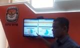 Ketua KPUD NTB Suhardi Soud menunjukan Sistem Informasi Penghitungan Suara (Situng) di Kantor KPUD NTB, Jalan Langko, Mataram, NTB, Kamis (18/4).