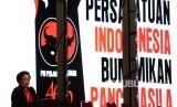 Ketua Umum PDI Perjuangan Megawati Sukarnoputri memberikan sambutan saat penutupan Rapat Koordinasi Nasional (Rakornas) PDI Perjuangan di JIExpo Kemayoran, Jakarta, Jumat (11/1/2019).