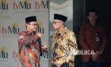Sekjen PP Muhammadiyah Abdul Muti  (kiri) bersama Ketua Umum PP Muhammadiyah Haedar Nasir (kanan)