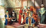 Khan dan para pembantunya saat mendiamin Shaki Khan Palace.