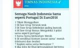 Kiprah Timnas Indonesia disamakan dengan Portugal di Euro 2016 oleh netizen di Twitter, Rabu (7/12).