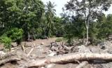 Kondisi Jorong Tanjuang Sawah Nagari Padang Laweh Malalo kecamatan Batipuh Selatan, Kabupaten Tanah Datar usai dilanda banjir bandang pada Jum