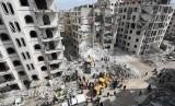 Kondisi pusat kota Idlib, Suriah