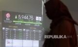 Layar indeks harga saham gabungan (IHSG) di BEI, Jakarta, Selasa (3/10).