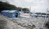 Masjid darurat yang sedang dibangun Dompet Dhuafa di lokasi terdampak gempa, tsunami dan likuefaksi Sulteng.