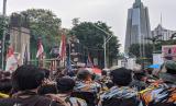 Massa dari sejumlah organisasi menggelar demo menolak Omnibus Law RUU Cipta Kerja