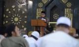 Menag Apresiasi DPR Sudah Tetapkan Biaya Haji 2020. Foto: Menag Fachrul Razi saat memberi sambutan di acara Dzikir Nasional Republika di Masjid At Tin, Jakarta, Selasa (31/12).