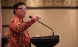 Mendagri Tjahjo Kumolo saat membuka Rapat Koordinasi Nasional Camat Regional III Tahun 2018 , di Hotel Sangrila, Kamis (15/11).