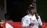 Menpora Zainudin Amali menjadi inspektur upacara peringatan Hari Patriotik di Stadion 23 Januari, Kabupaten Gorontalo, Gorontalo, Kamis (23/1/2020).