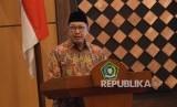 Menteri Agama Lukman Hakim Saifuddin saat peluncuran Terjemahan Alquran ke bahasa daerah dan Ensiklopedia Pemuka Agama Nusantara di Kemenag, Jakarta, Senin (19/12).