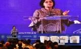 Menteri Keuangan Sri Mulyani menyampaikan pengarahan dalam Sosialisasi Transfer ke Daerah dan Dana Desa Tahun Anggaran 2019 di Kemenkeu, Jakarta, Senin (10/12/2018).