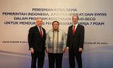 Menteri Perencanaan Pembangunan Nasional (PPN)/Kepala Bappenas Bambang Brodjonegoro dalam peresmian kerja sama Pemerintah Indonesia,  Amerika Serikat, dan Swiss dalam Program Kemitraan USAID-SECO untuk Mendukung Peningkatan Kinerja 7 PDAM, Rabu (26/6).