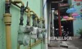 Meteran jaringan gas rumah tangga PGN terpasang di Rusun Klender, Jakarta, Rabu (14/11).