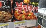 Mie instant merk Samyang yang diproduksi Samyang Crop Kangwon-Do Korea.