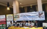 Opick dan Sahabat Palestina Memanggil (SPM) menggelar konferensi pers di Jakarta, Rabu (3/1), terkait penyerahan bantuan bagi pengungsi Palestina di perbatasan.