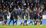 Para pemain Chelsea merayakan gol pada babak perempat final Piala FA, Senin (19/3) dini hari WIB.