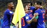 Para pemain Kolombia merayakan gol Radamel Falcao (kanan) pada laga penyisihan Piala Dunia 2018 lawan Polandia di Kazan, Senin (25/6) dini hari WIB. Kolombia menang 3-0.